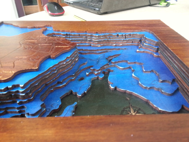 Lasercut Bathymetric Map of Arabian Sea