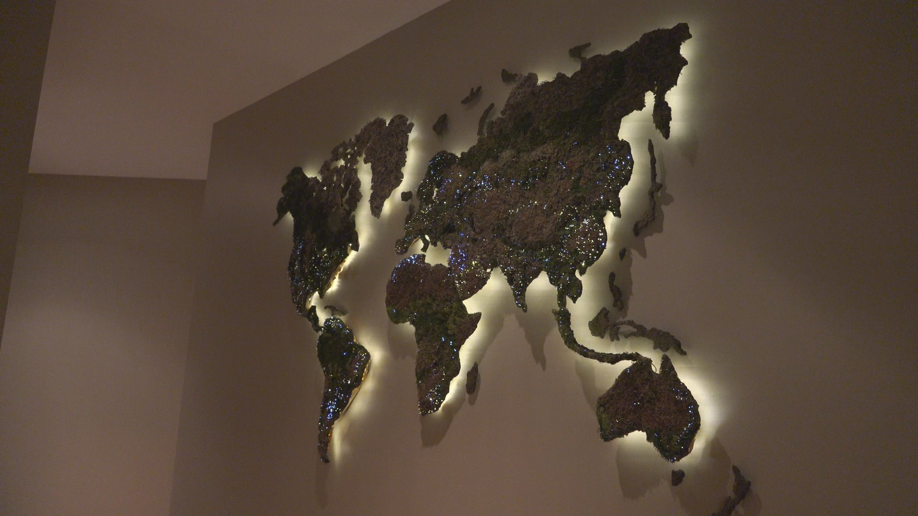 Floating World Backlit Moss Map With Arduino Fiber Optic LED Cities