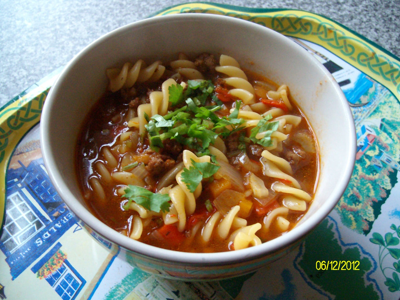 Chilli Beef Soup With Pasta Shells