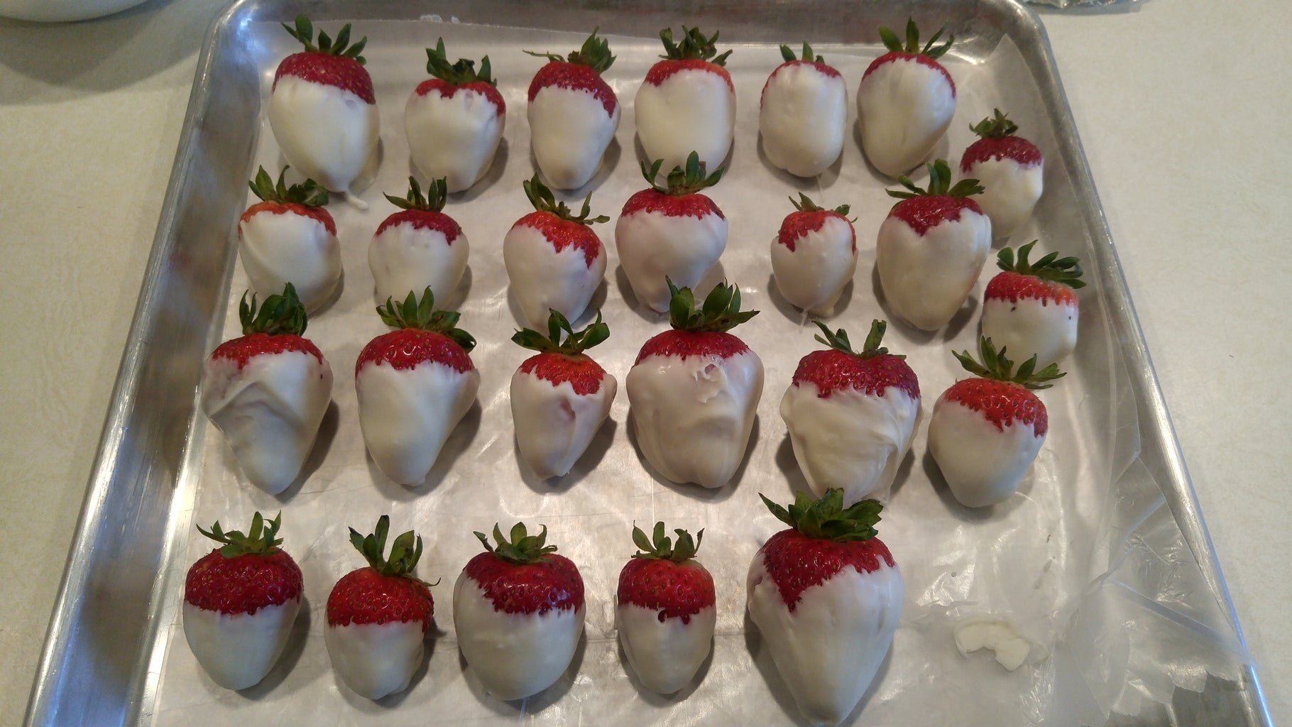 Dip the Strawberries in the White Chocolate