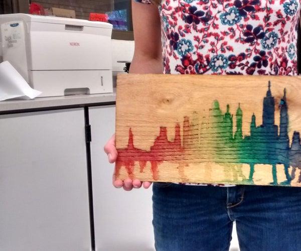 Rainbow Wooden Water Color Skyline Wall Art