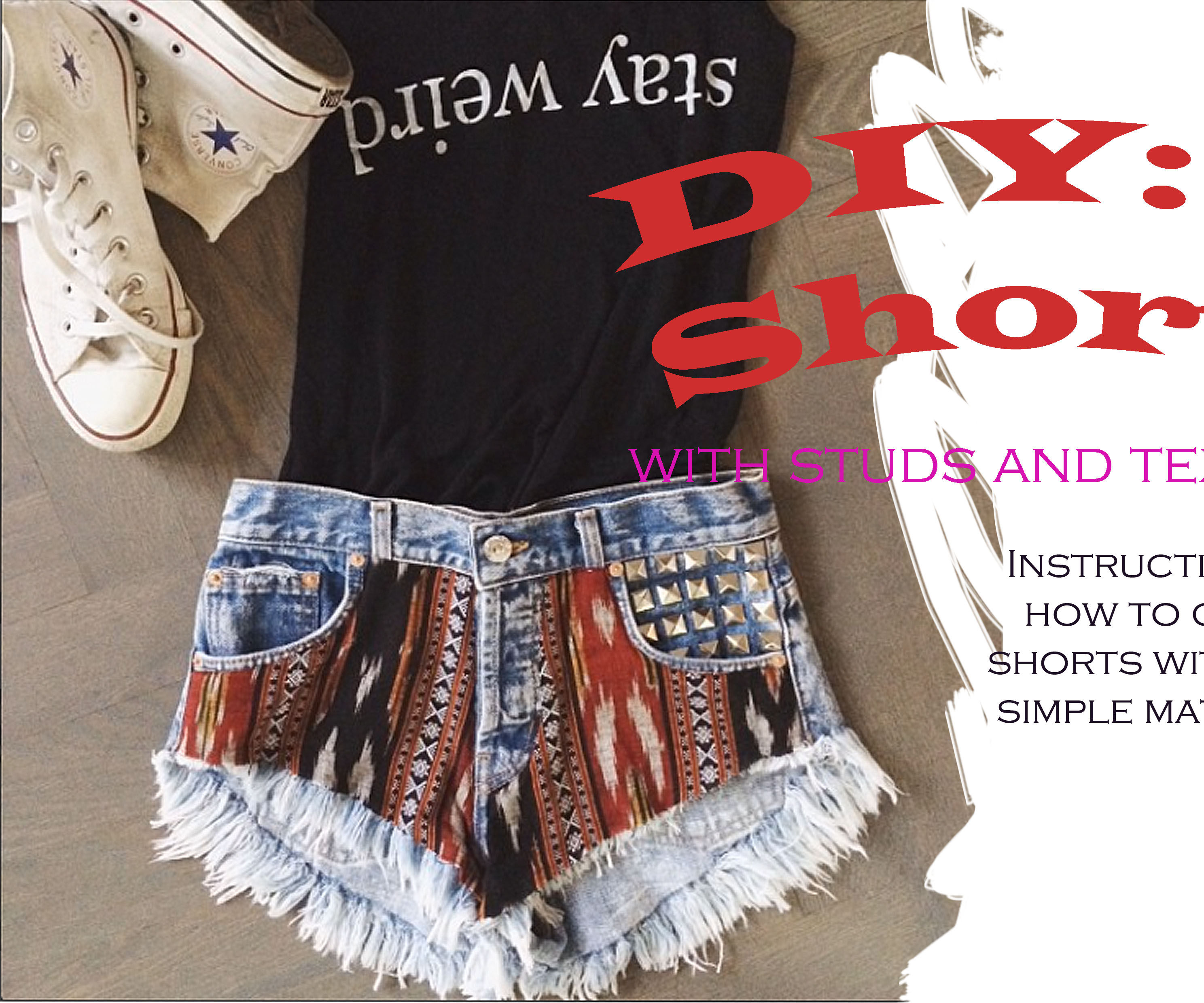 DIY Shorts with Studs and Textiles