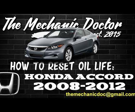 How to reset oil life: Honda Accord 2008-2012.