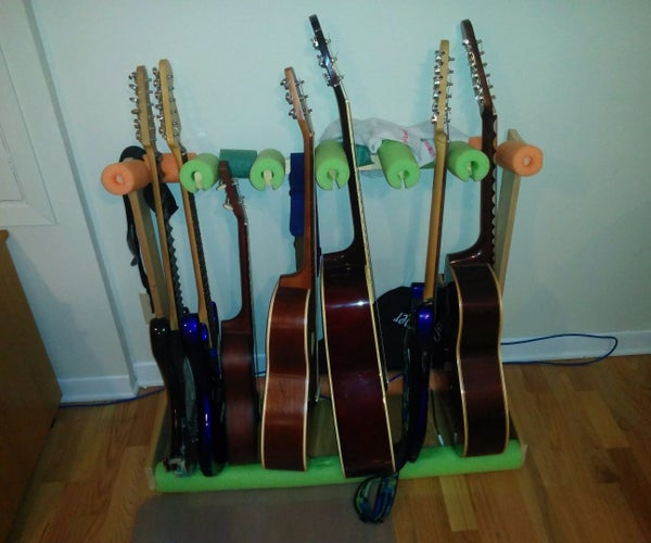 Guitar Stand From Pool Noodles and Discarded Wood