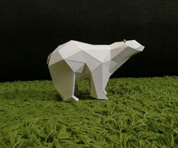 Polygon Polar Bear Paper Craft