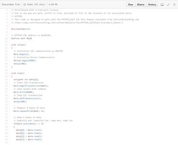 Arduino Code for Humidity Measurement: