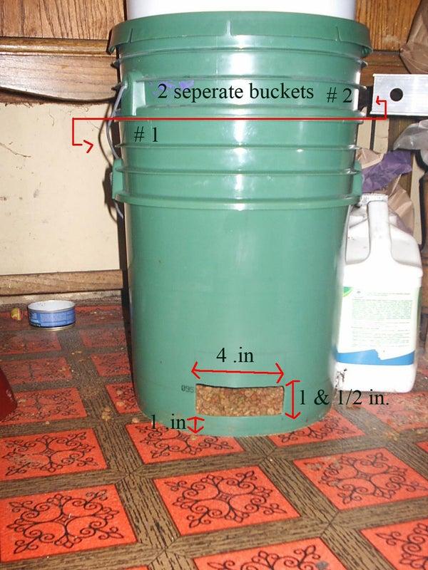 Gravity/Auto Cat Feeder From 2 #5 Gallon Buckets