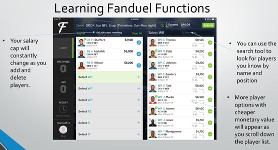 Important Fanduel Rules, Requirements, and Functions
