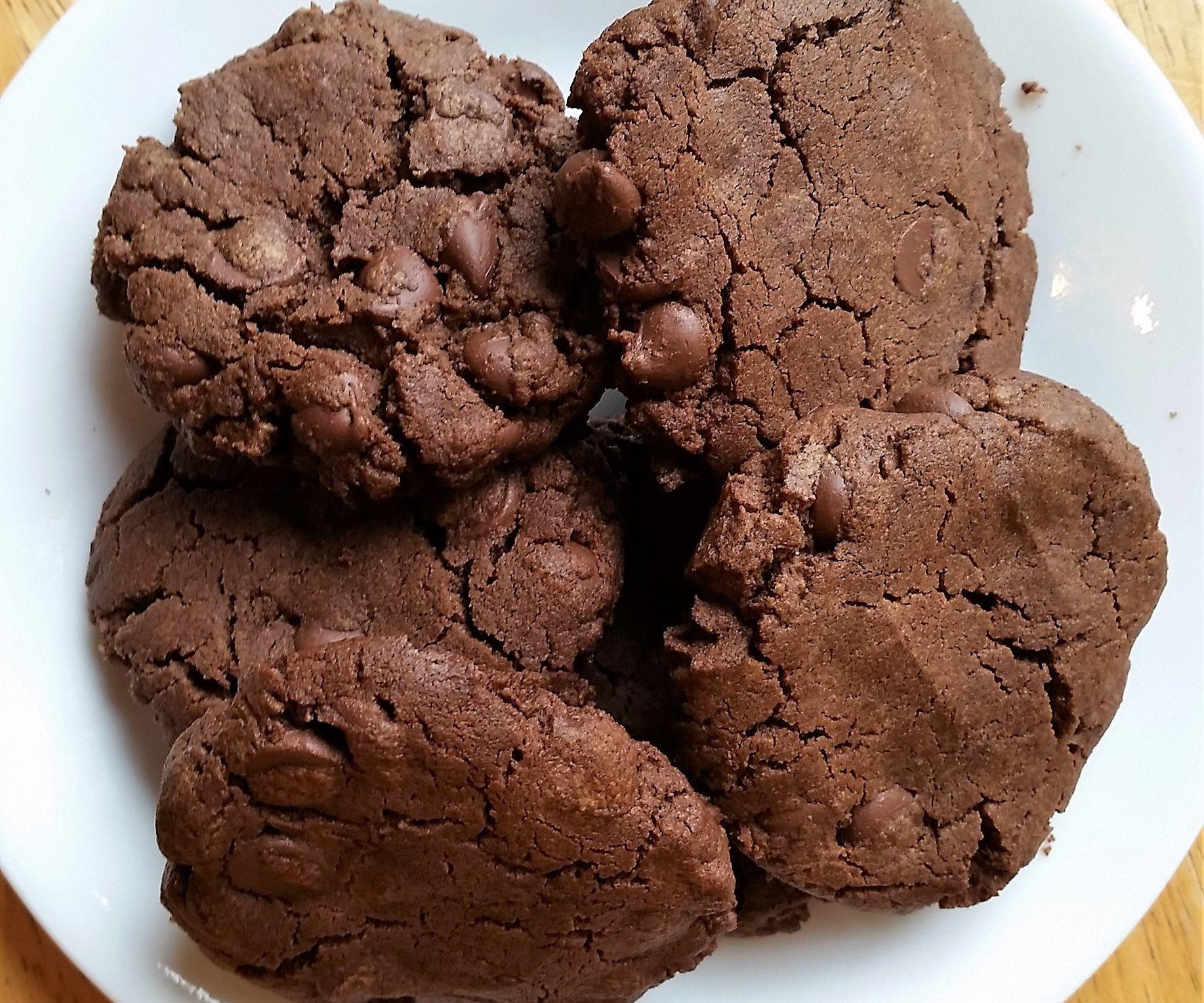 Chocolate Chocolate Chip Cookies! (flourless, Gluten Free, GF, Nut Butter, Peanut Butter)