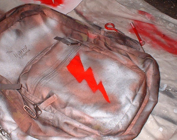 Personalized Backpack; Spray Paint & Stencil Style