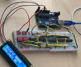 4 Bit Adder With LCD Monitor and Decimal Conversion