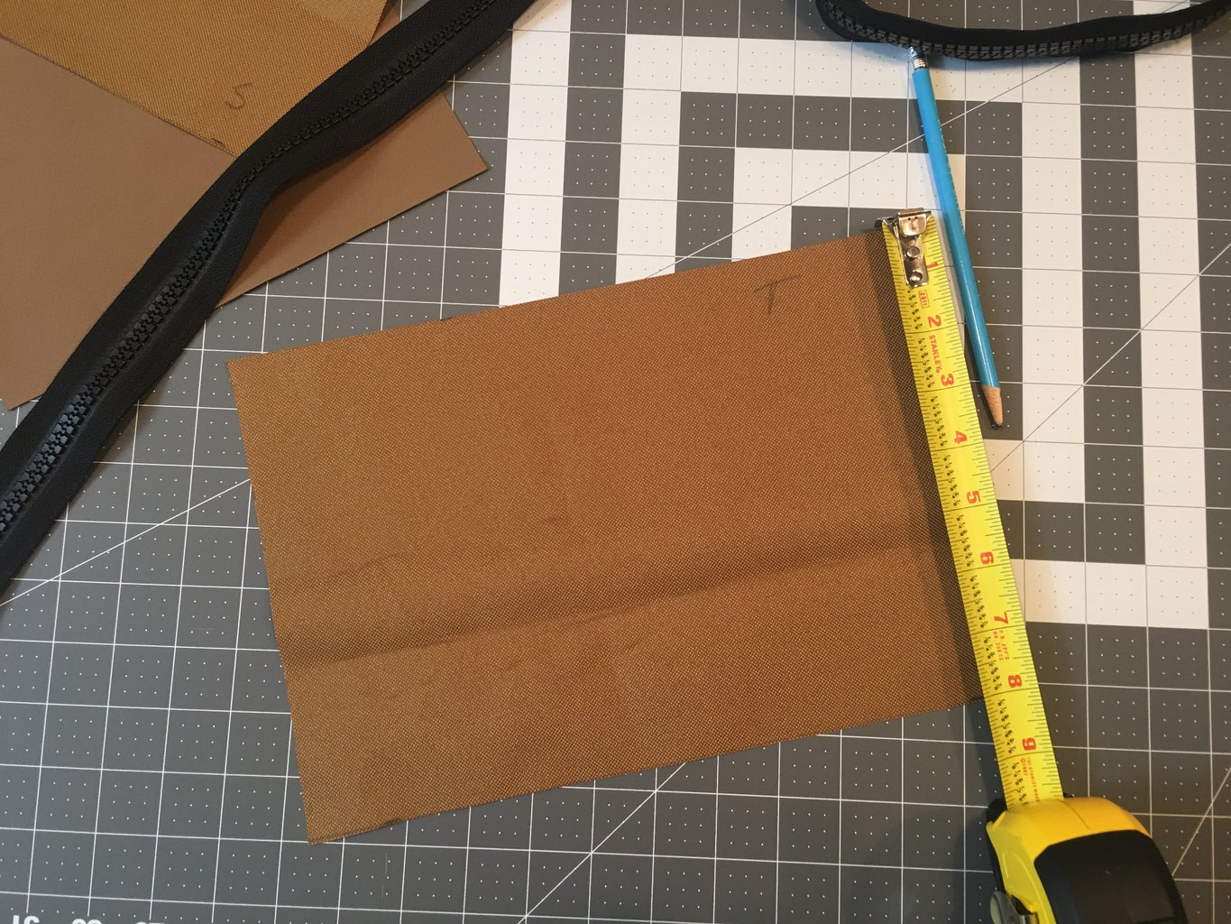 Cutting Pieces of Canvas for the Bag: