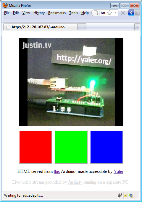 Web Controlled Arduino LED