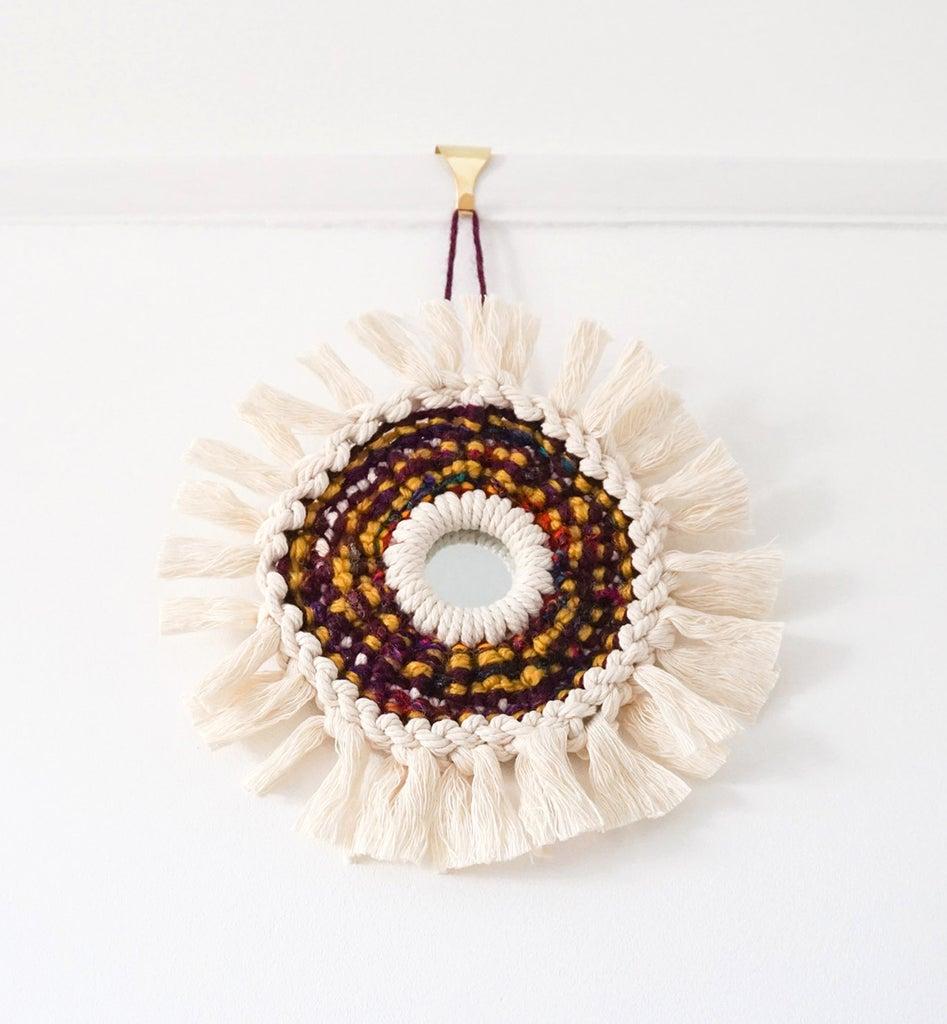 DIY Circular Macramé SUNBURST Ornament   Woven Rope & Fibre Mirror Project