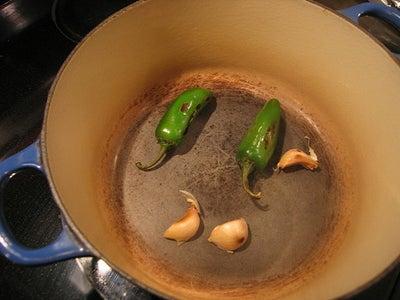 Roast the Jalapeno and Garlic