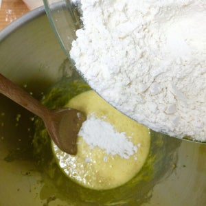 Remove Mixing Bowl From Electric Mixer. Add in Half of the Flour Mixture.