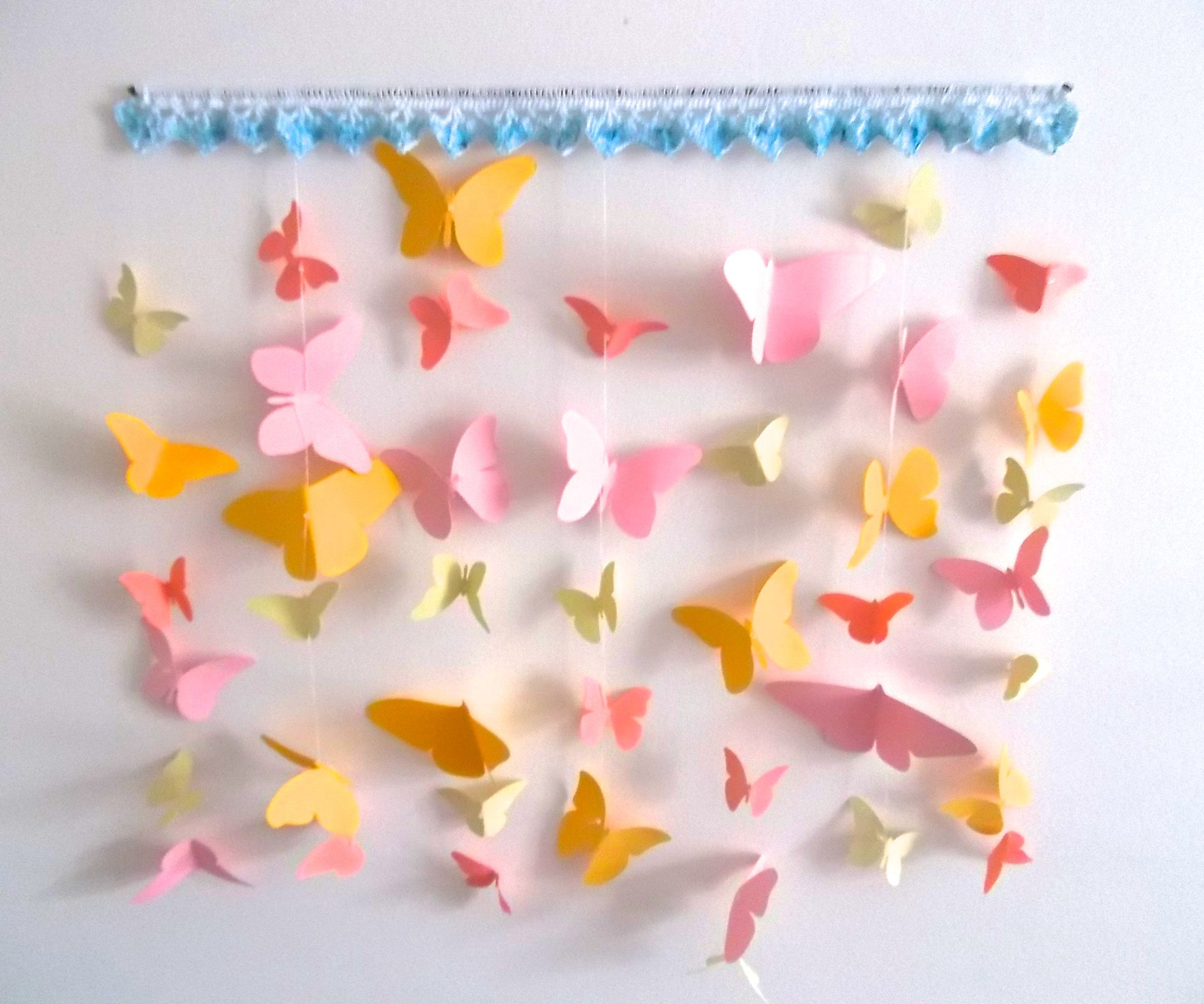 Crochet-Trimmed Butterfly Hanging