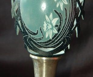 Art Nouveau Daffodil Emu Egg Shell