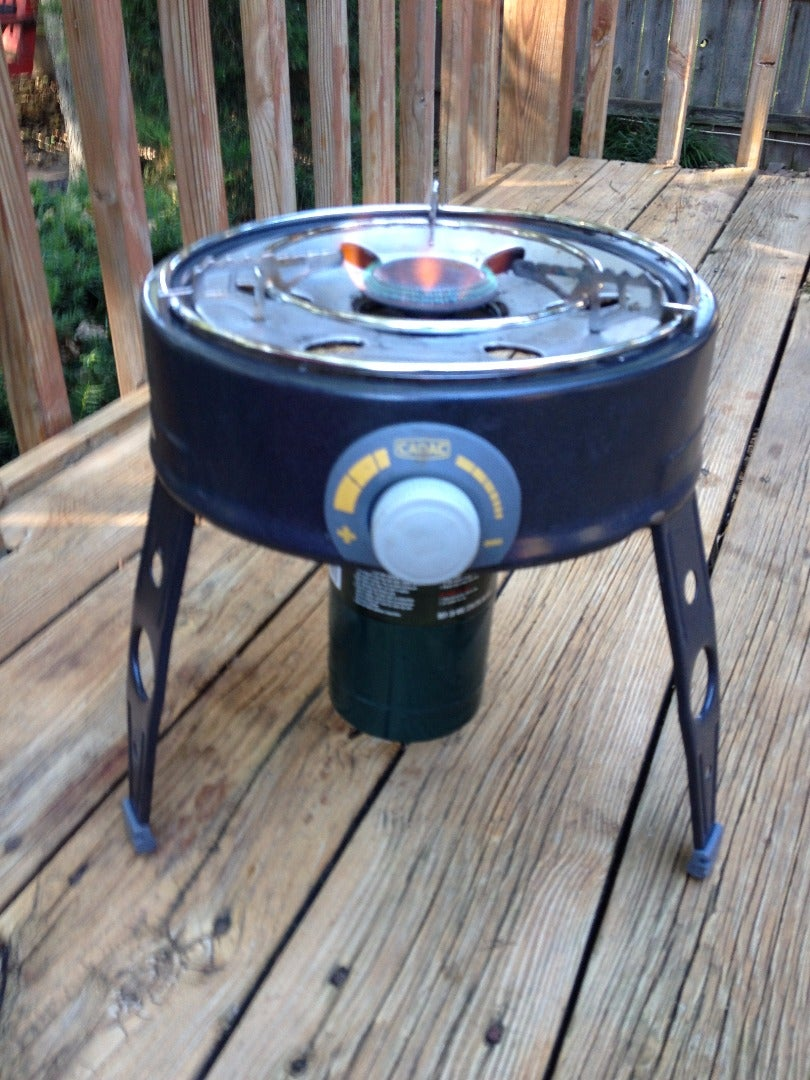 Attach the 1 Pound Propane Cannister to the Portable Grill