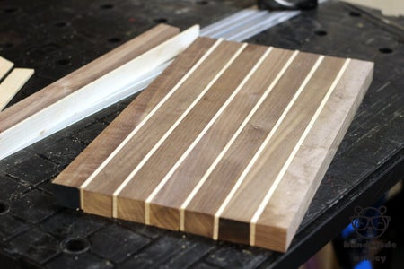 Glue Walnut and Maple Strips Together