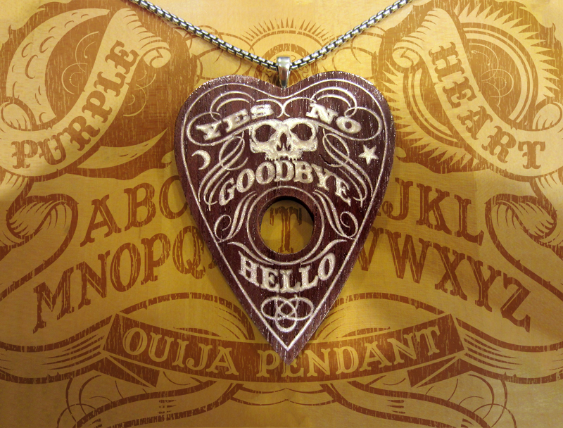 Purpleheart Ouija Pendant with Polymer Clay Inlays