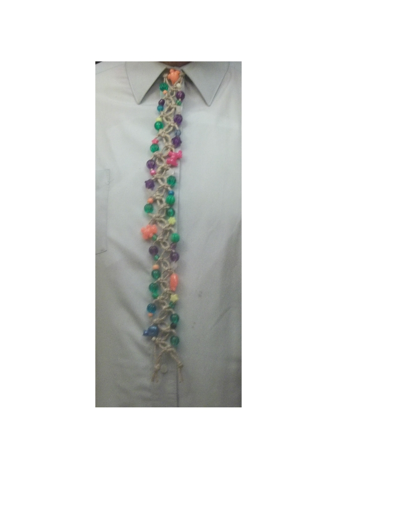 Beaded Macrame Neck Tie