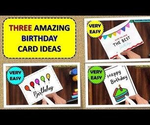 BIRTHDAY CARD DRAWING EASY | 3 AMAZING BIRTHDAY CARD