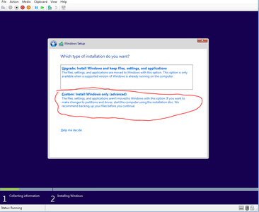 Select Custom Installation to Install a New Version of Windows.