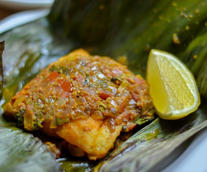 FISH COOKED IN BANANA LEAVES