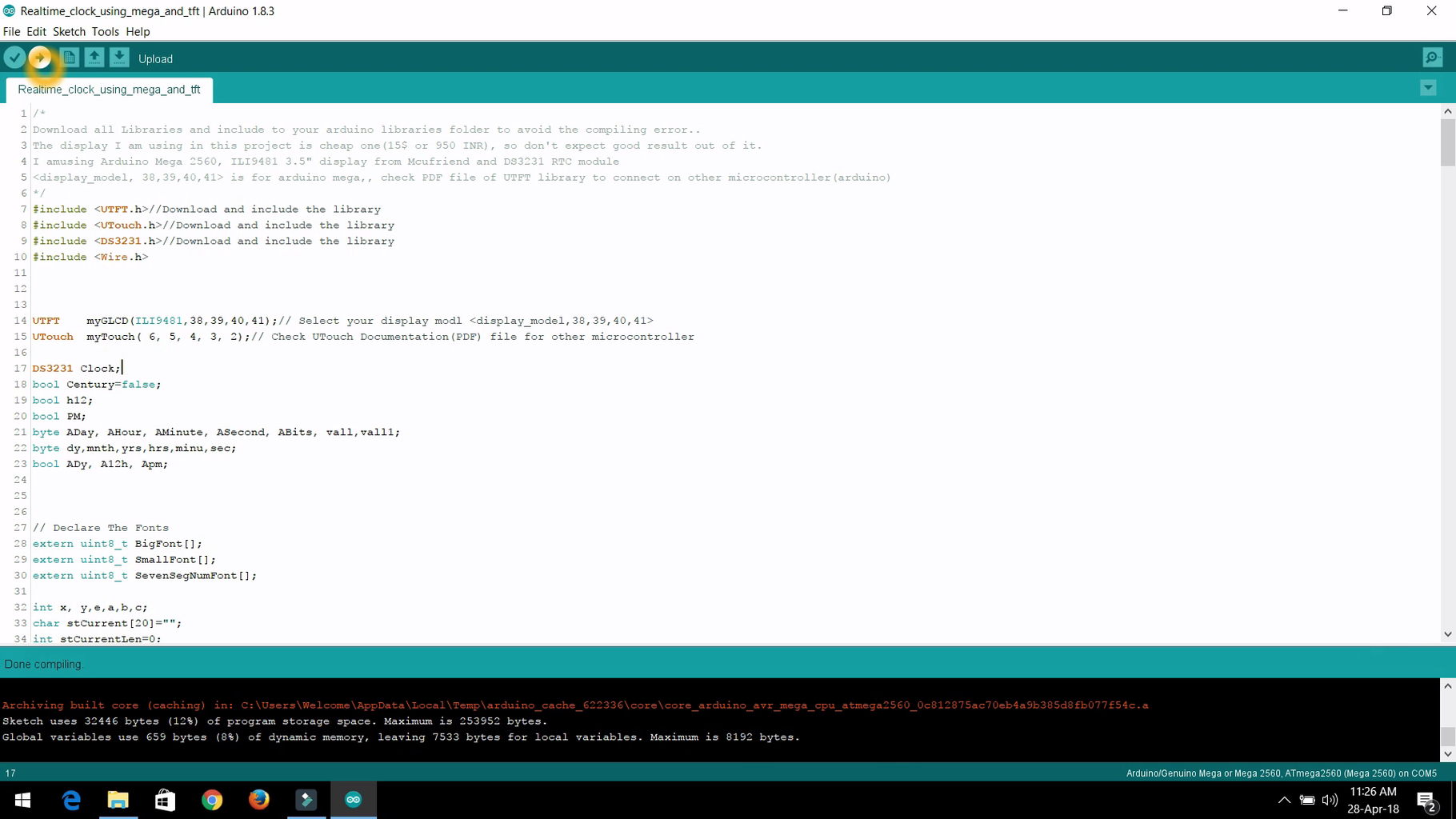 Step-4:- Upload the Sketch to Arduino