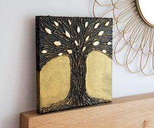 DIY热胶树艺术|涂上自己的金属效果纹理墙艺术