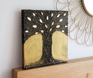 DIY Hot Glue Tree Art | Paint Your Own Metal-Effect Textured Wall Art