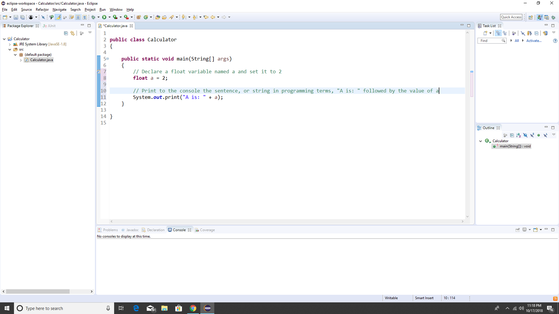 Step 3: Practice Creating a Variable