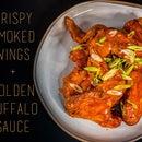 Crispy Smoked Wings + Golden Buffalo Sauce