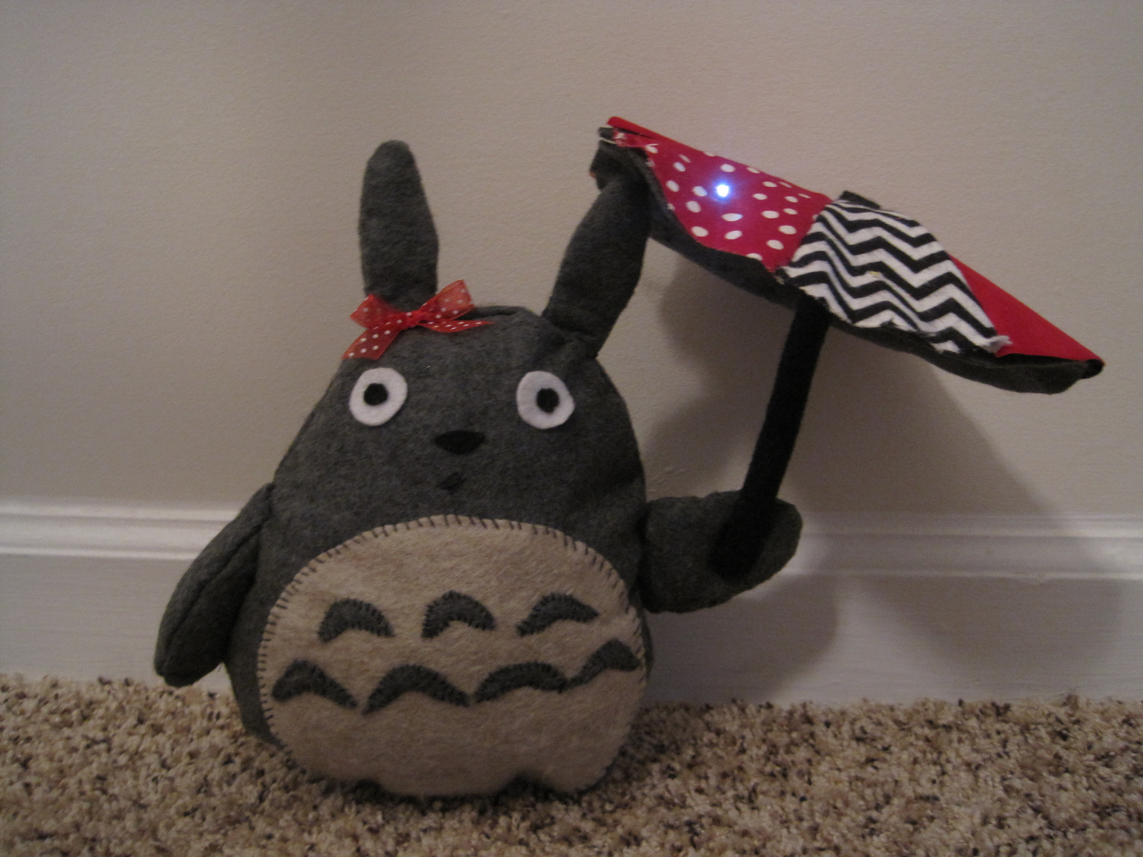 LilyPad Arduino Totoro Plush with Umbrella