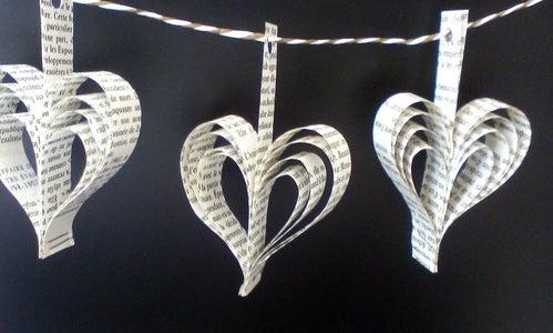 Heart Book Paper Garlands