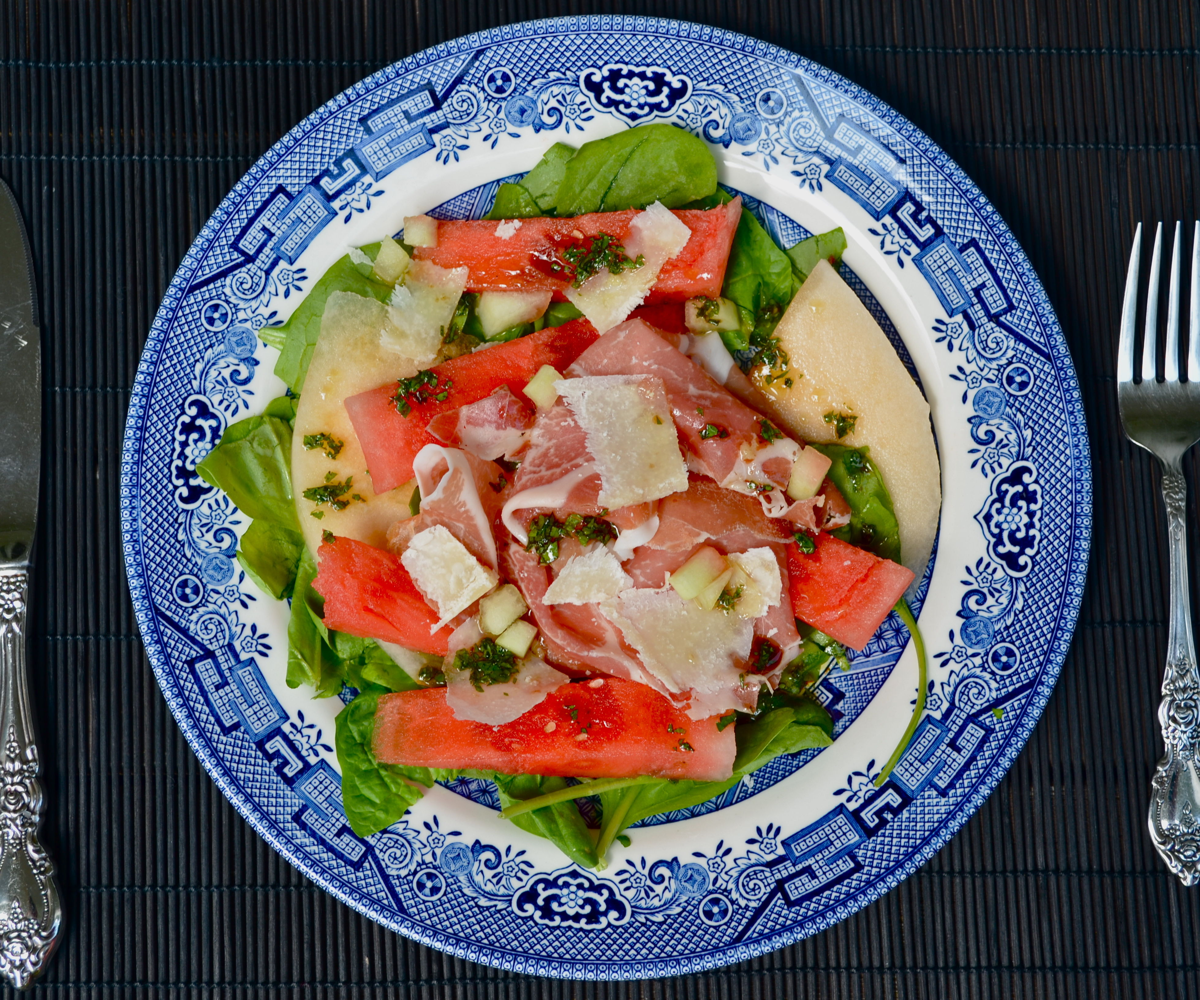 Watermelon Salad with Parma Ham, Quick Pickled Watermelon Rind and Parmigiano-Reggiano