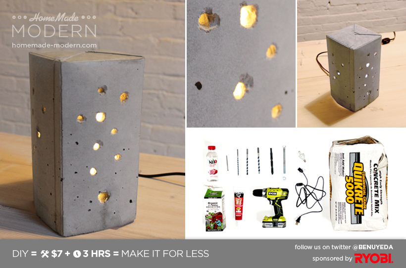 HomeMade Modern DIY Concrete Lamp