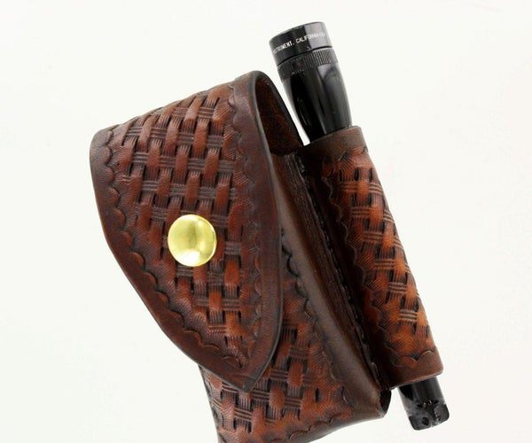Leather Pouch for Leatherman Wave® and Mini Flashlight With Free Pattern