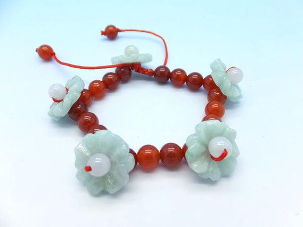"Handmade Red Agate and Jadeite Jade ""flower Fairy"" Beaded Bracelet DIY03"