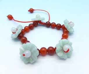 "Handmade Red Agate and Jadeite Jade ""flower Fairy"" Beaded Bracelet DIY03"