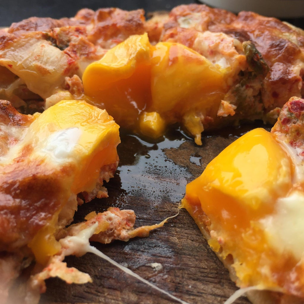 Kimchi and Egg Breakfast Pizza.