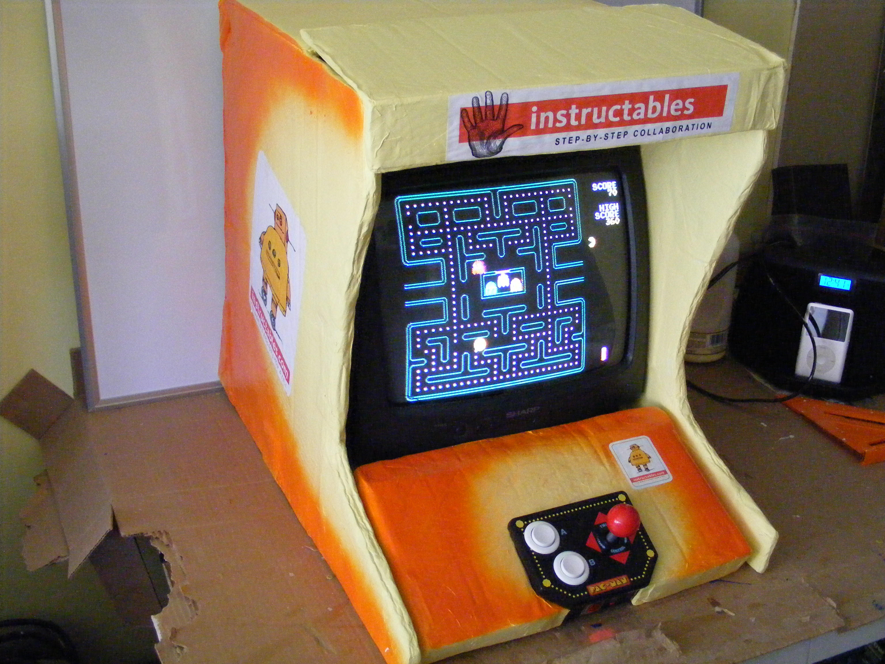 Cardboard Bar Top Arcade Game Console - Lithium Rain Recycled Entertainment Machine of Righteousness