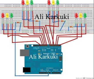 Traffic Light 4 Way Using Arduino Uno 5 Steps Instructables