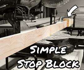 斜切锯的简单停止块系统