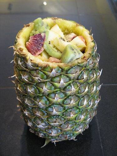 Fruit Salad Served in a Pineapple
