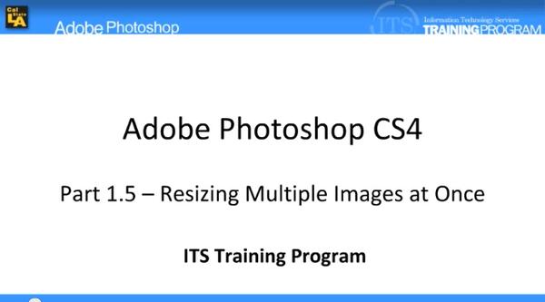Resizing Multiple Images at Once: Adobe Photoshop (1.5)