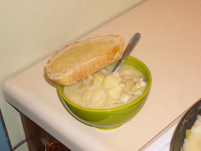 Vegan Cream of Potato Soup w/ mushrooms.