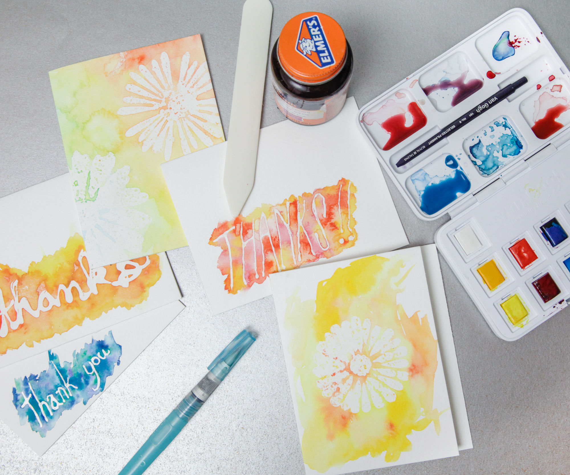 Watercolor Resist Cards