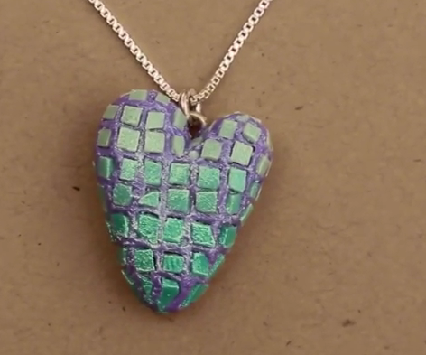 Polymer Clay Mosaic Heart Pendant